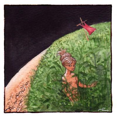 """""""Walking in a Cornfield on Earth"""". Vattenfärg, 141104."""